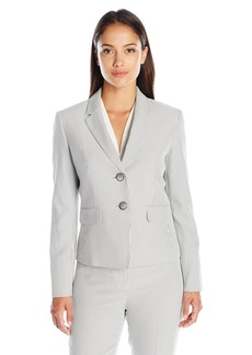 Kasper Women's Petite Seersucker 2 Button Jacket