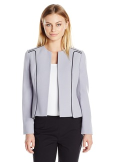Kasper Women's Petite-Size Crepe Contrast Flyaway Jacket  10P
