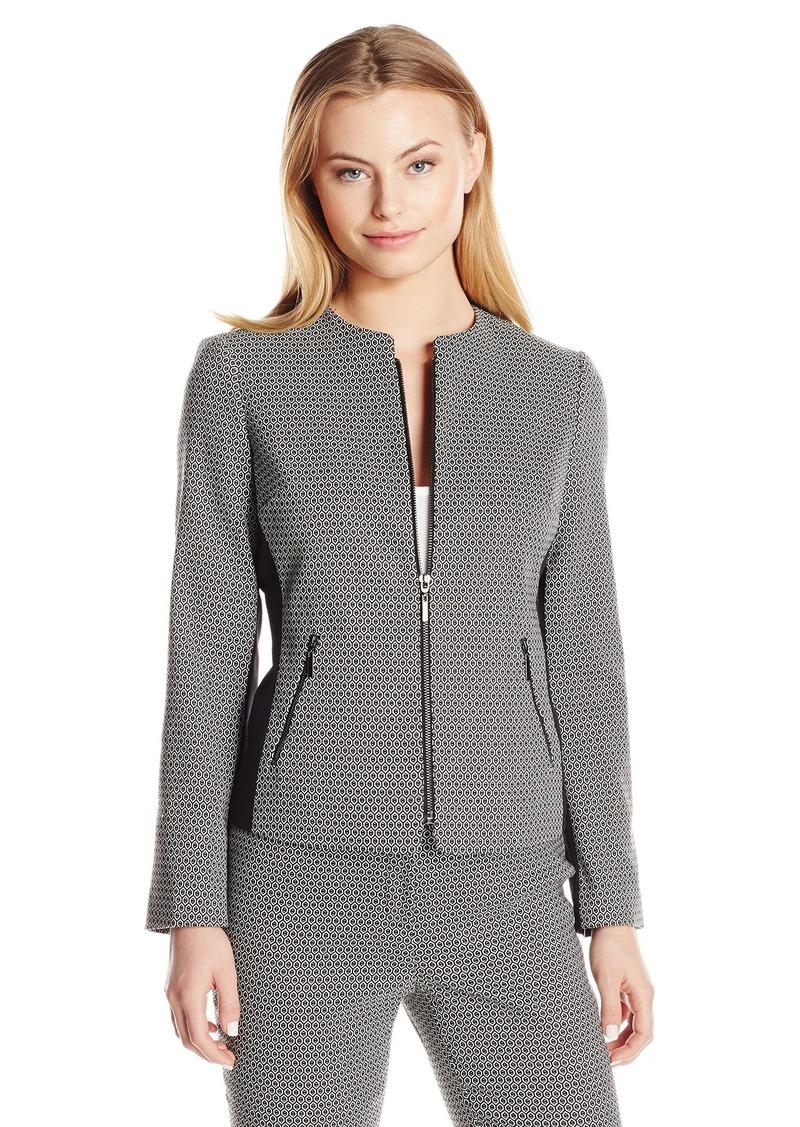 f7dce2cd36a Kasper Women s Petite Size Honeycomb Jacquard Zip Jacket with Black  Contrast 8P