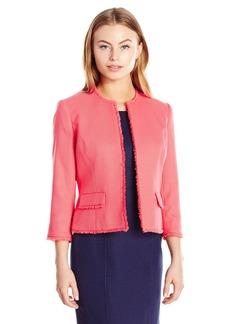 Kasper Women's Petite Size Jewel Neck Textured Jacket with Fringe Trim  16P