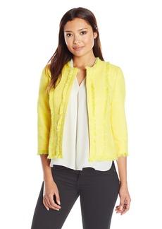 Kasper Women's Petite Size Jewel Neck Tweed Flyaway Jacket  6P
