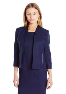 Kasper Women's Petite Size Mandarin Collar Textured Flyaway Jacket  4P