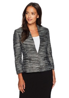 Kasper Women's Petite Size Metallic Tweed Flyaway Jacket  8P