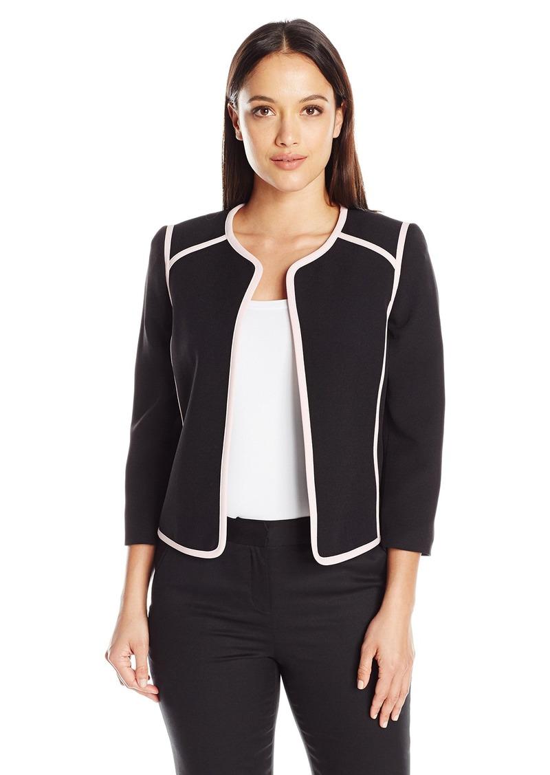 93cc660237e Kasper Women s Petite Size Solid Jewel Neck Flyaway Jacket with Pink Trim  14P