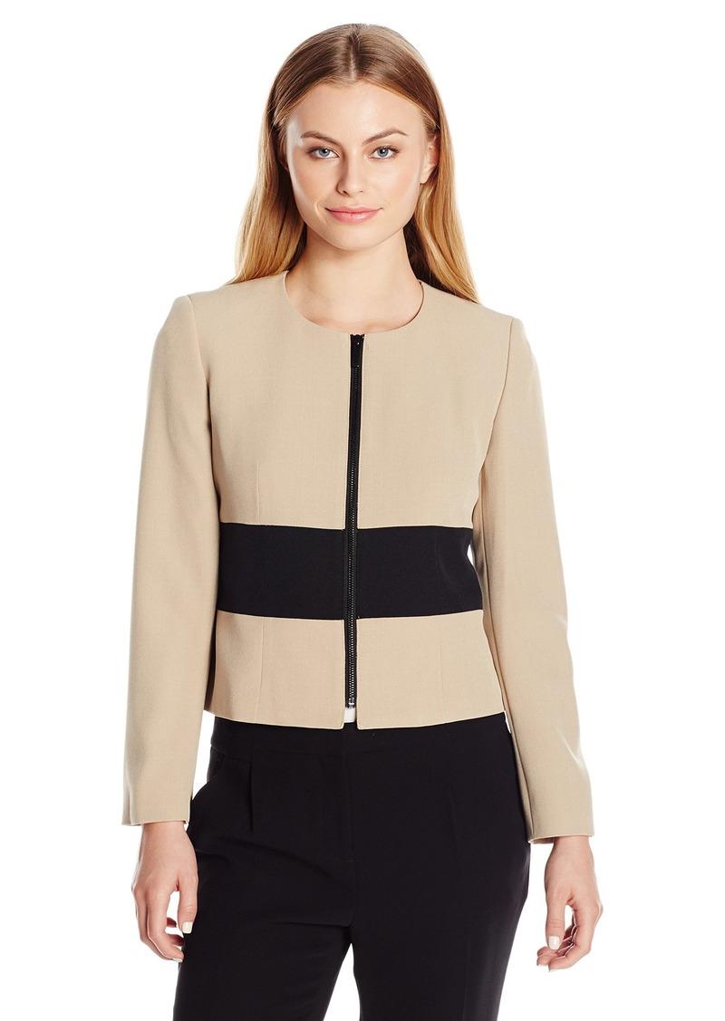 eb64697eb5e Kasper Kasper Women s Petite Size Stretch Crepe Color Block Jacket ...