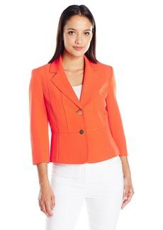 Kasper Women's Petite Size Two Button Notch Collar Crepe Jacket