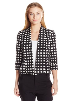 Kasper Women's Petite-Size Windowpane Printed Twill Callie Jacket  12P