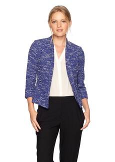 Kasper Women's Petite Wide Lapel Knit Tweed Jacket  12P