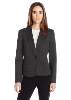 Kasper Women's Pin Dot Knit Jacquard 1 Button Jacket W/ Pocket Detailing