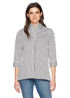 Kasper Women's Pinstripe Printed Sateen 3/4 Sleeve Blouse