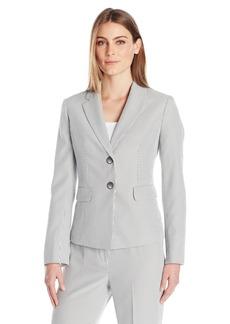 Kasper Women's Pinstripe Seersucker 2 Button Jacket