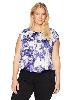 Kasper Women's Plus Peony Printed Charmeuse Extend Cap Sleeve Blouse