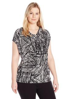 Kasper Women's Plus Size Abstract Crosshatch Print Ity Cami