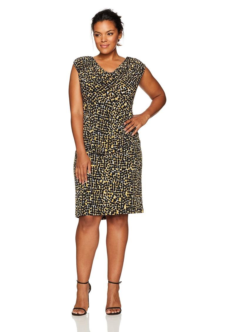 05869e15621 Kasper Kasper Women s Plus Size Cap Sleeve Splatter Print Ity Dress ...