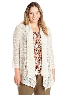 Kasper Women's Plus Size Diamond Lace Knit 3/4 Sleeve Flyaway Cozy Jacket