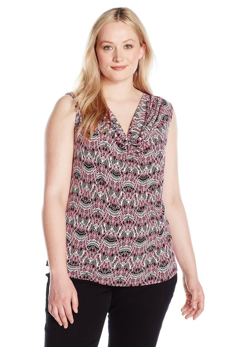 f0efa00fc4b Kasper Kasper Women s Plus Size Drape Neck Tribal Print Cami ...