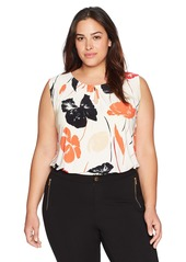 Kasper Women's Plus Size Floral Scoop Neck Ity Tank