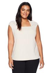 Kasper Women's Plus Size Ribbed Knit Square Neck Cami
