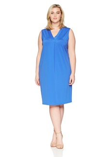 Kasper Women's Plus Size Ribbed Knit V Neck Shift Dress  3X