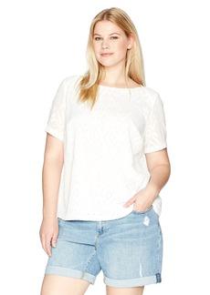 Kasper Women's Plus Size Short Sleeve Dashed Texture Blouse