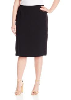 Kasper Women's Plus Size Stretch Crepe Skimmer Skirt