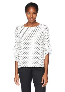 Kasper Women's Poka Dot Printed Ruffle Sleeves Blouse  M