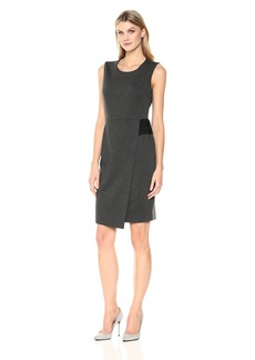 Kasper Women's Ponte Faux Wrap Sheath Dress