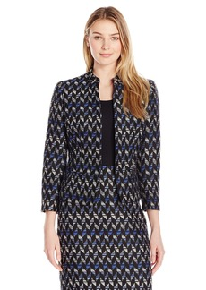 Kasper Women's Printed Mock Turtle Tweed Jacket