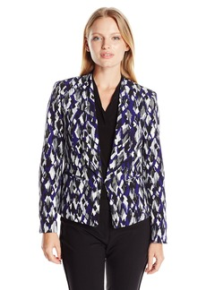 Kasper Women's Size Printed Mystery Stretch Open Jacket
