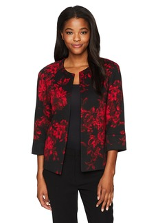 Kasper Women's Printed Rounded Neck Flyaway Jacket
