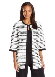 Kasper Women's Printed Stripe Jacquard Topper Jacket