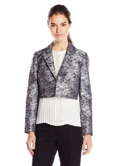 Kasper Women's Rose Jacquard Crop Open Jacket