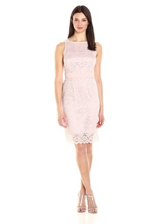 Kasper Women's Rounded Neck Lace Dress with Waist Band