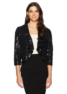 Kasper Women's Sequin Mesh Fly Away Jacket