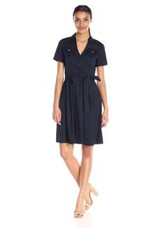 Kasper Women's Short Sleeve Shirt Collar Belted Dress