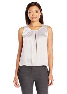 Kasper Women's Size Solid Pleat Neck Blouse  Petite Medium