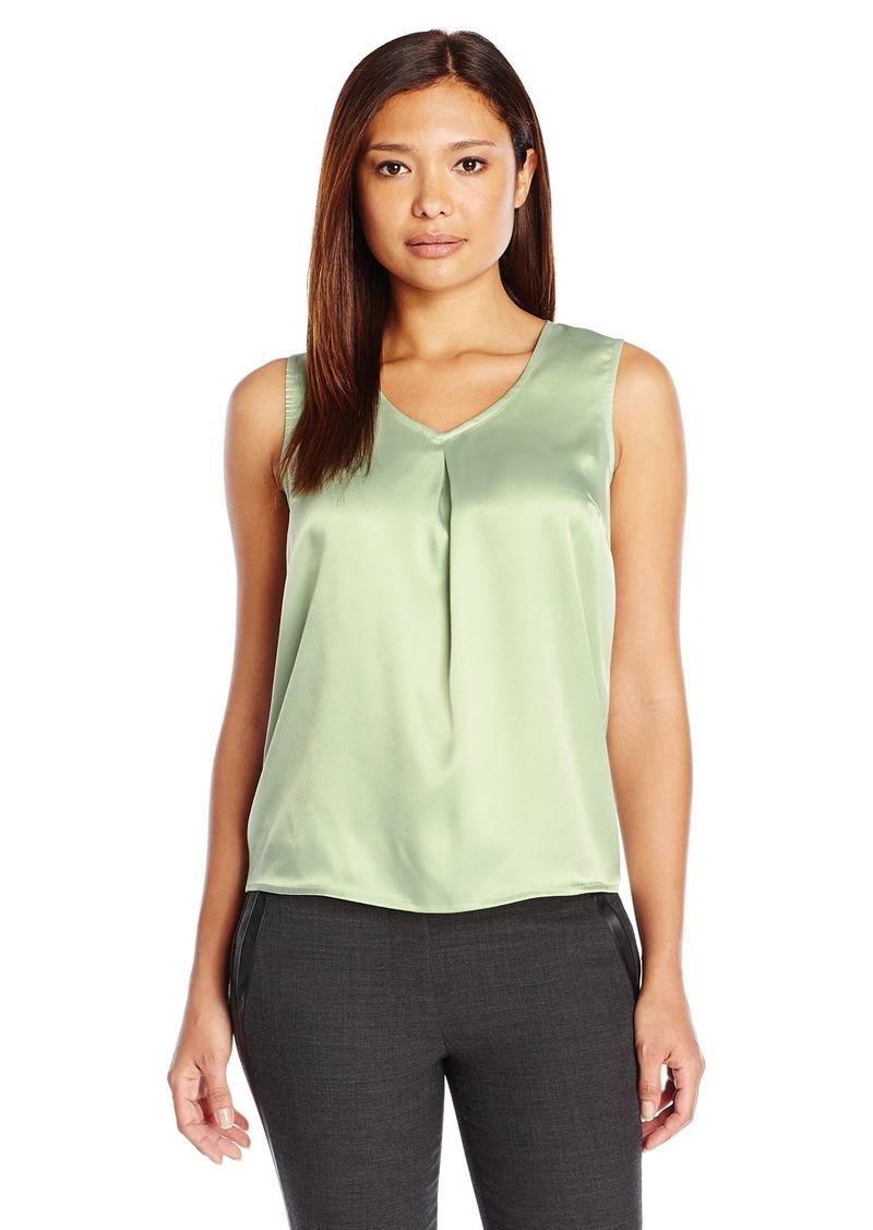 Kasper Women's Size Solid V Neck Front Pleat Cami  Petite X-Large
