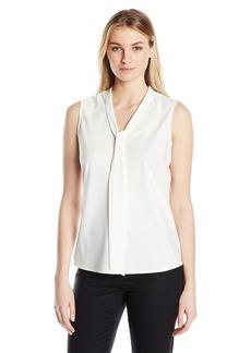 Kasper Women's Size Tie Neck Blouse  Petite Medium