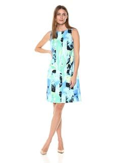 Kasper Women's S/L Sea Waves Printed Crepe Dress