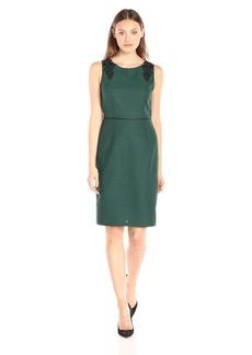 Kasper Women's Sleeveless Shoulder Applique Tweed Sheath Dress