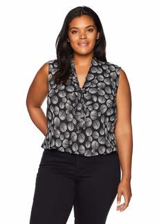 Kasper Women's Sleeveless Tie Neck Dot Printed Woven Blouse  S