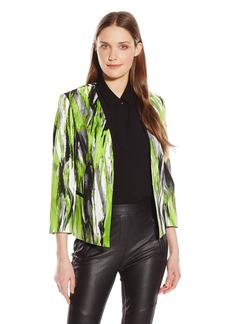 Kasper Women's Smirred Print Printed Open Jacket