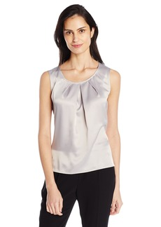Kasper Women's Solid Pleat Neck Blouse (2)  M