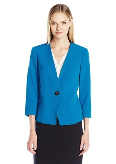 Kasper Women's Stretch Crepe 1 Button Collarless Jacket