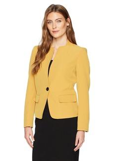 Kasper Women's Stretch Crepe 1 Button Collarless Jacket