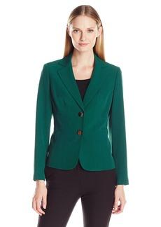 Kasper Women's Stretch Crepe 2 Button Notch Collar Jacket
