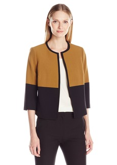 Kasper Women's Stretch Crepe Color Block Flyaway Jacket