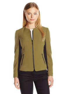 Kasper Women's Size Stretch Crepe Color Block Zip Jacket