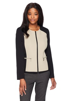 Kasper Women's Stretch Crepe Contrast Jacket With Zipper Detailing