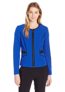 Kasper Women's Stretch Crepe Contrast Piping Jacket